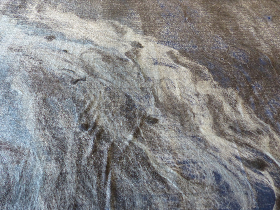 Nightwave  (Detail)  Marino wool, silk and bamboo fibre on cotton organdy. 2015