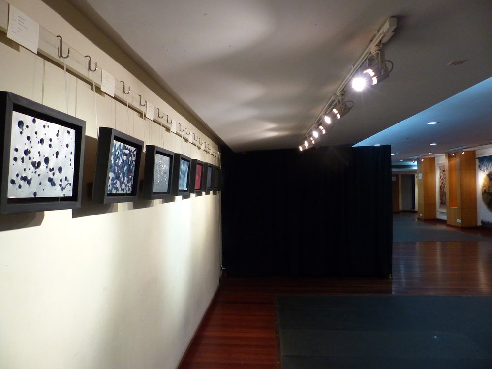 Indigo Light   Installation at The Jamini Roy Gallery, Kolkata  Blackout Installation box beside works on paper, 2017