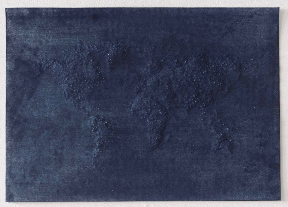 World               Indigo on hand pierced paper          ,   21cm x 29.5cm          ,   2017