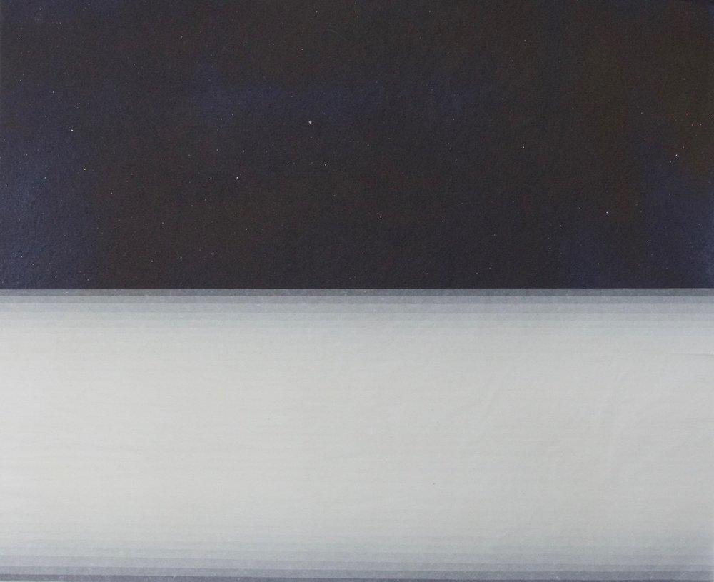 Horizontal Transition   Tissue on Indigo dyed hand made paper (Oaxaca), 49cm x 40cm, 2015