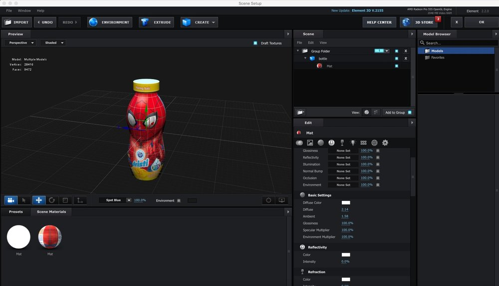 The bottle was modeled in C4D and composited in After Effects using Element 3D.