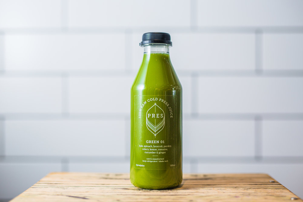 THE GREEN JUICES - GREEN ONE - Spinach, Broccoli, Parsley, Celery, Lemon, Romaine, Cucumber, Ginger. GREEN TWO - Kale, Spinach, Apple, Cucumber, Celery, Lemon