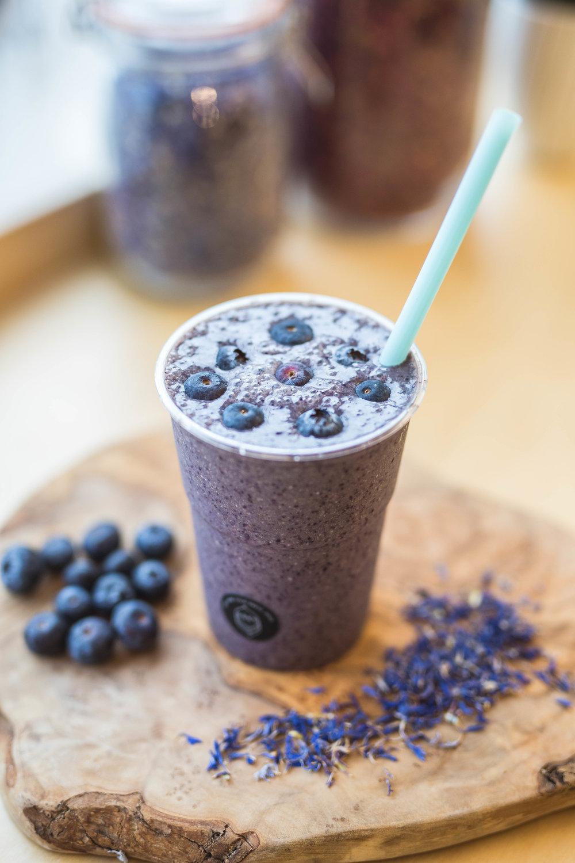 Blueberries, Banana, Oats, Maple Syrup, Açai powder and almond milk