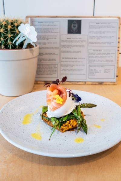 Sweet potato and spinach rosti, smoked salmon, poached egg, asparagus and chilli oil