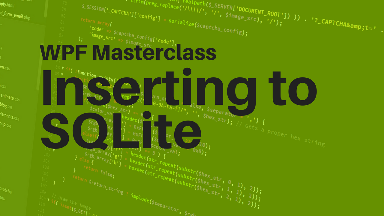 Eduardo Rosas - Inserting to a SQLite Table with WPF