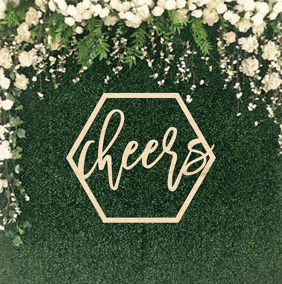 "Cheers gold sign   size- 16"" tall x 18 1/2"" wide  Price: $10.00  Inquire about quantity and availability."