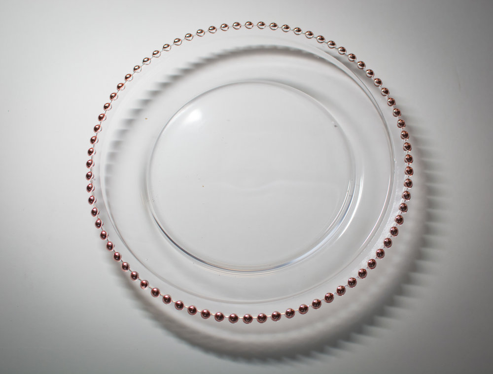 Rose Gold Beaded Charger Plate   Material: Glass  $3.75 Per Plate.  Inquire About quantity and availability.