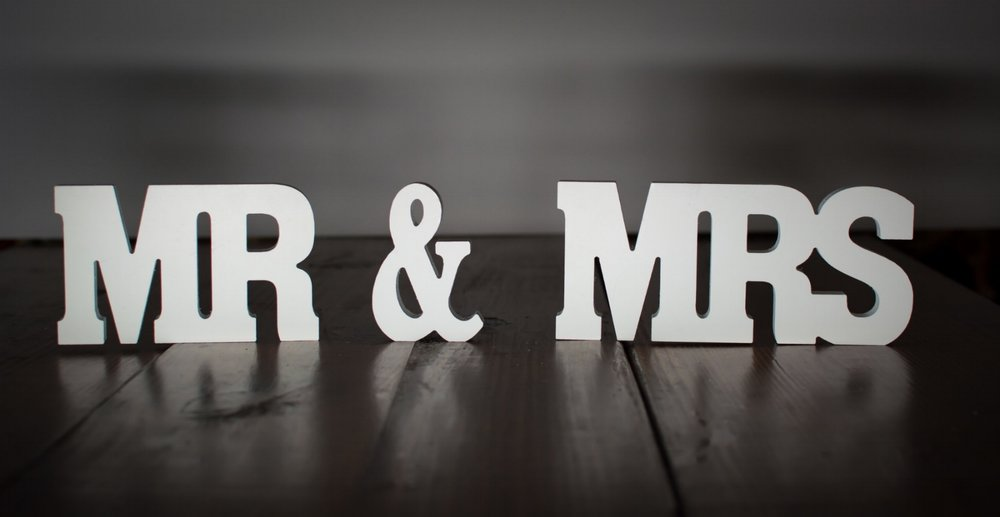"Mr & Mrs Sign   Height- 4""  Price: $7.00  Inquire about quantity and availability."