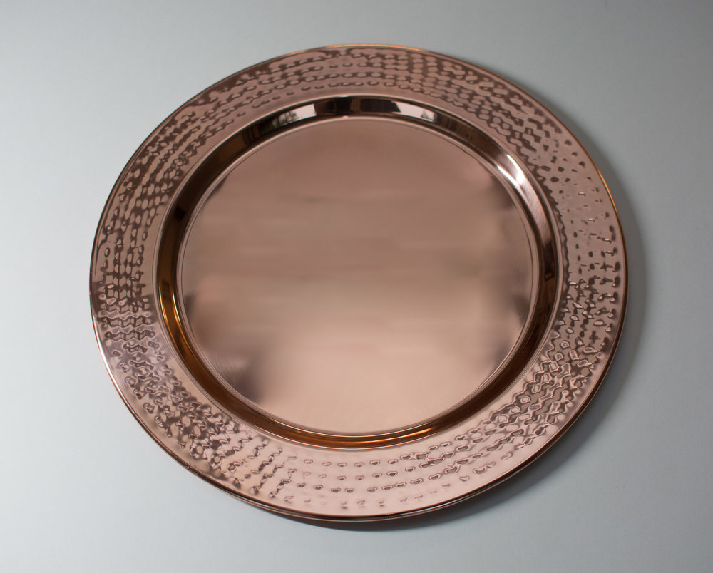 Hammered copper charger plate   Material: Steel  $3.25 Per Plate  Inquire about quantity and availability