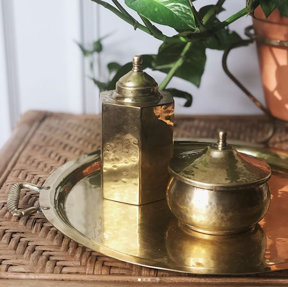Vintage Brass Canister Set   Price: $10 for Pair