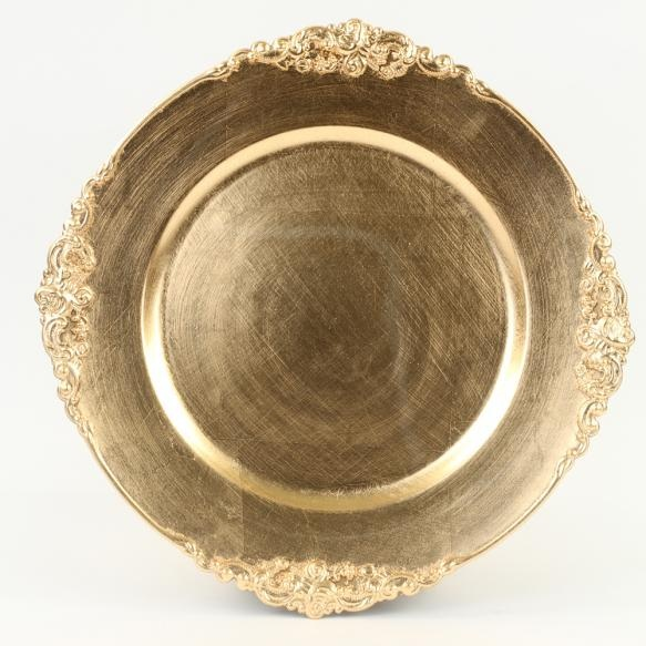 Gold Vintage Charger Plate   Material: Acrylic  $2.00 Per Plate  Inquire about quantity and availability