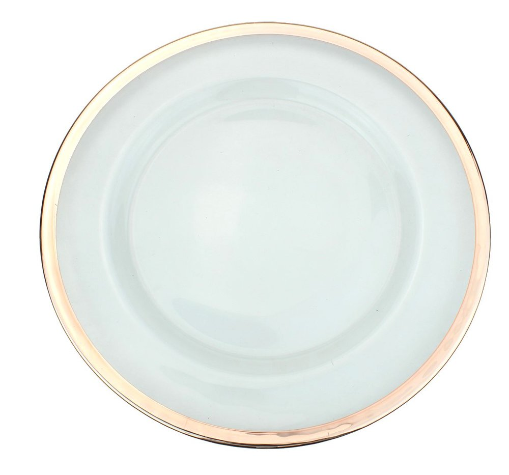 Glass Rose Gold Trimmed Charger Plate   Material: Glass  $3.75 Per Plate