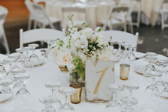White Wooden Table Number   Price: 3.00  Quantity Available: 12