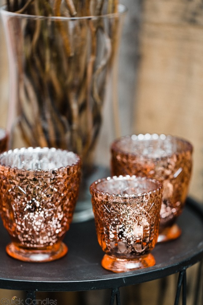 Rose Gold Votives   Price- Large 1.50/ Small 1.00  Quantity Available: 150