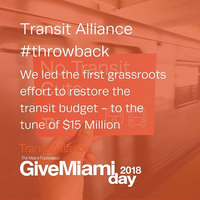 A year ago we launched Transit Alliance Miami, a non-profit dedicated fully to advocating for better #publictransit, #walkable streets and #bikeable neighborhoods. Our baby is now all grown up + participating in it's first #GiveMiamiDay. . #tbt to all that Transit Alliance Miami has accomplished this past year. . Urban Impact Lab is where civic innovation happens, we are: ▫️A research firm for civic solutions ▫️An incubator for social impact initiatives ▫️A creative placemaking studio Build your impact - Build your city . . . #UrbanImpactLab #creativeplacemaking #creative #placemaking #researchfirm #civicsolutions #socialimpact #initiatives #civic #civicinnovation #civicengagement #civicinfrastructure #socialengagement #communityengagement #impact #urban #Miami #Miamidadecounty #Florida #greatcities #urbanspaces #urbanplanning #greenspaces