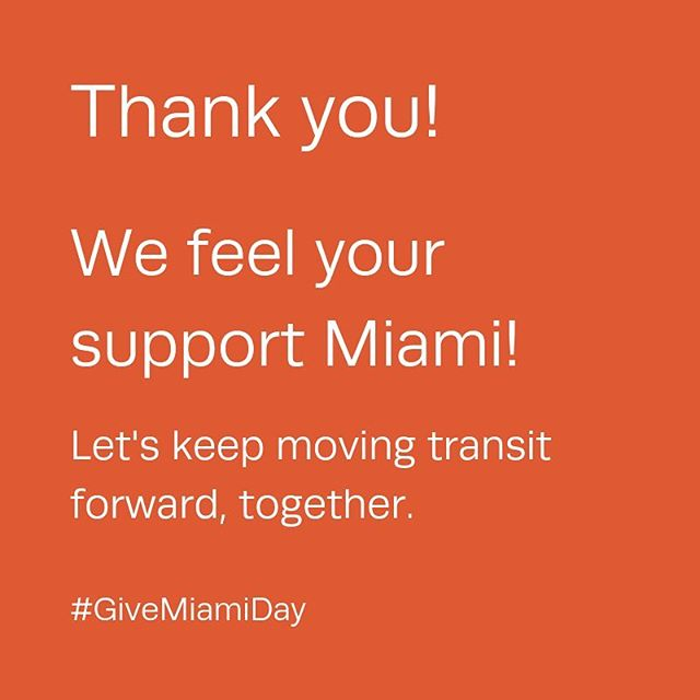 Transit Alliance Miami's first #GiveMiamiDay2018 and they are feeling the love! . Thank you for your generous donations - thank you AGAIN to some familiar faces and welcome to the @transitmia family for many of you! . You are transit advocates and we appreciate each of you! . @megthomson_daly #GloriaRomeroRoses #MikeCapote #YandroDiaz @jainwithalu @shaanmiami @marikalynch @instalobos @adamold #carolinabolado #Alexrubinsteyn #stevenwernick @kenrussellmiami @andreapatino @alanagreer @chezrebellion @cunningpscott #spandanmehta #annafutoryan @acmedef #elistiers @wmmoose @gbarrocas @aplucedellaluna #aimeeferrer @rrrebecca4 @sperkn @summerludlow #phillipstoddard @victordover #fotosdedani @rachiefed @rfl305 #markneedle . #BetterBusProject⠀ #GiveMiamiDay⠀ #GiveLikeYouLiveHere⠀ @MiamiFoundation