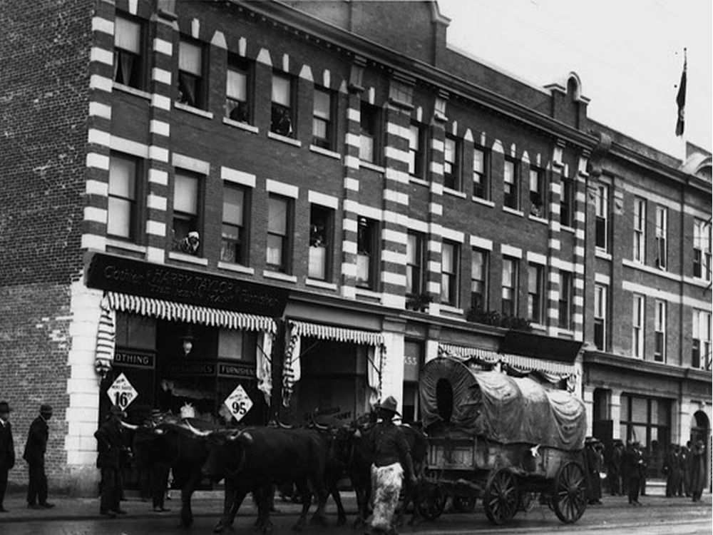 The Ernest Brown Block now known at the Brighton Block on Jasper Avenue and 96 Street in the days when horses and wagons were part of the downtown traffic flow. EDMONTON