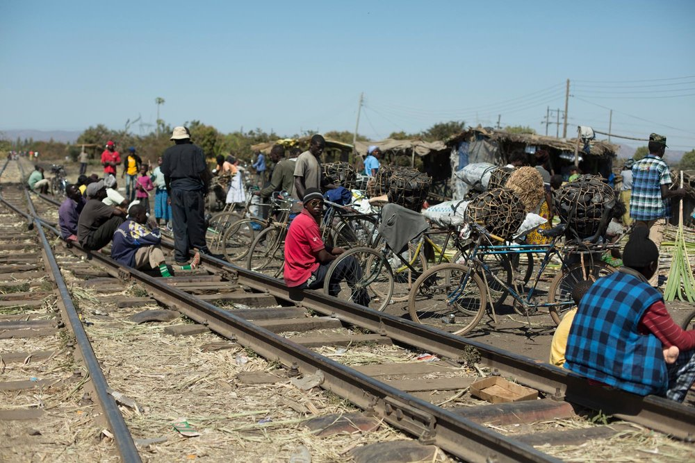 Charcoal traders on rail tracks Zambia
