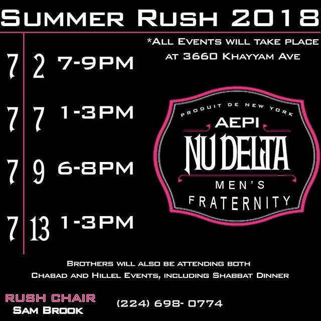 Summer rush starts tonight, come grab some food from 7-9 at 3660 khayyam Ave and meet the best brotherhood at UCF!  For more information message Rush chairman @sambrook2 at (224) 696-0774