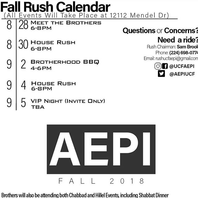 Come out and see why Alpha Epsilon Pi is the best fraternity on campus! Questions? Feel free to hit up our Rush Chair, Sam Brook. 224-698-0774 #RUSHAEPI