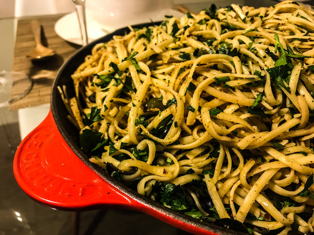 LINGUINE WITH OLIVES AND BREAD CRUMBS - #SIAintheKitchen