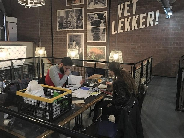 Andre (left) and Lena (right) during a design meeting at a favorite restaurant in the Netherlands.