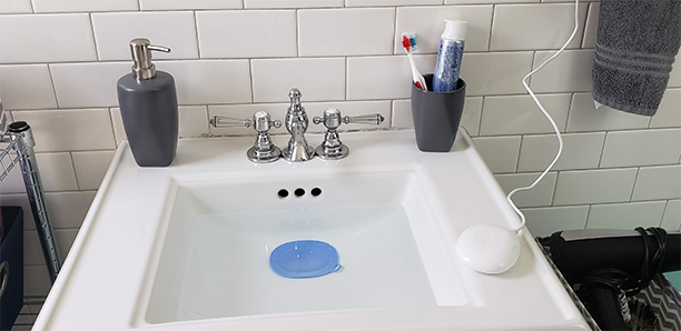 A standard ceramic bathroom sink is the perfect container for your Dolfi