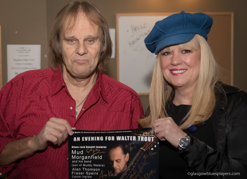 "Nancy Lippold-Ingram presents the ""An Evening for Walter Trout"" poster. -"
