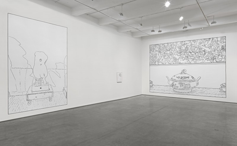 Wall drawing by Louise Lawler