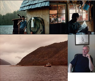 Top left:author supporting bunkhouse in Haida Gwaii, Peel Inlet, West Coast May 1980; Top right: after a day's hand logging (Peel Inlet  camp); Bottom Left: The Detour towing Maurice's boom through The Narrows circa 1978; Bottom Right: the author today.