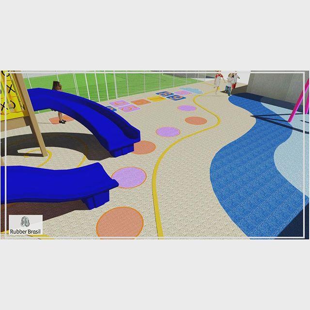 Para fechar o ciclo de projetos no skp ... mais uma ideia brilhante de personalização de playground. Ondas do mar de um lado, tom de areia do outro.  Amarelinha ao fundo para as crianças  #playground #rubberbrasil 💙💜