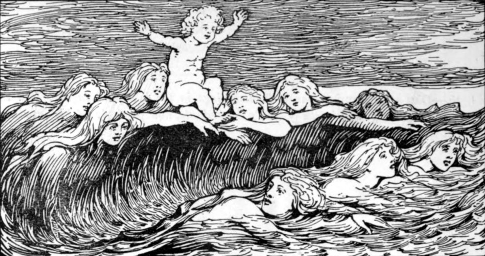 Heimdal and his Nine Mothers  (1908) by W.G. Collingwood