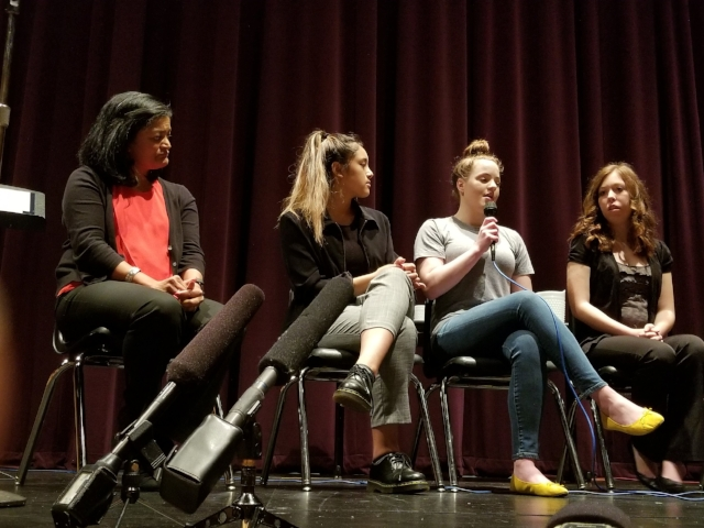 Speaking with March for Our Lives Seattle organizers at Garfield High School.