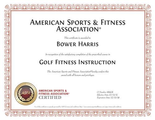 Certifications — Bo Harris Golf