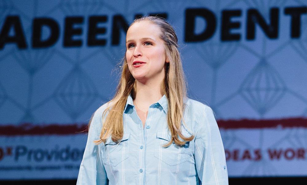 "Adeene Denton giving her TedX talk, ""Netflix and Chill at 0 Kelvin"
