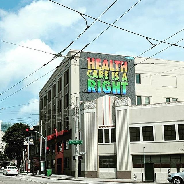 Spotted this sign in San Francisco! Great reminder to keep our priorities in line ❤️ #westandup #progress #healthcareisaright #healthcare #2018 #fightforyourrights