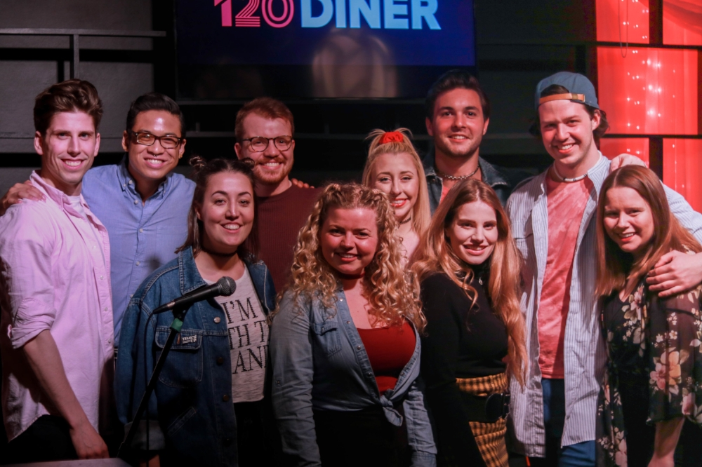 "The cast & creative team of ""Boy Bands, EH?"". L to R: Bohdan Onushko, Tai Wong-Clayton, Amanda Pereira, Andrew Pearson, Moulan Bourke, Bailey Dalton, Eric McDace, Tess Barao, Dustin George & Susan Waycik"