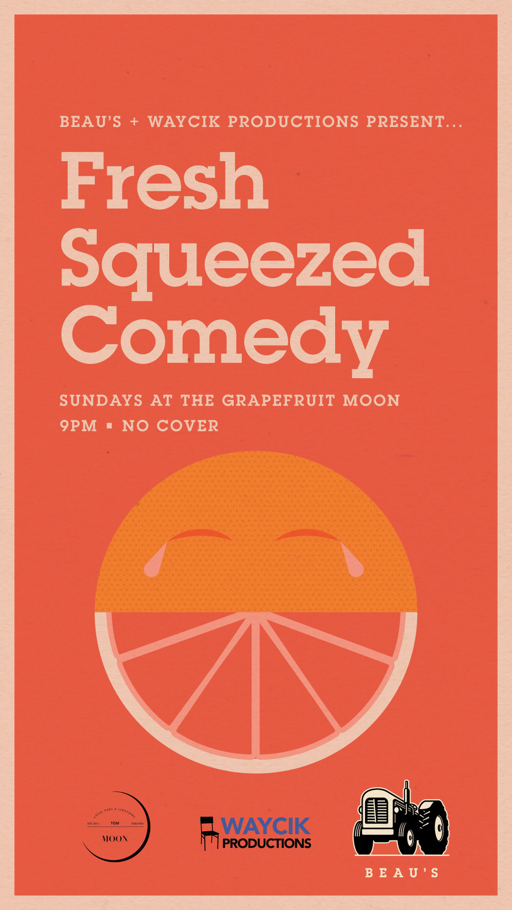 - Featuring some of Toronto's funniest stand-up comedy at one of the city's best restaurants! EVERY SUNDAY NIGHT at 9PM!LOOKING FOR STAGE TIME? There will be 3 LOTTO SPOTS available every week! Arrive before the show starts to throw your name into the bucket!New Beer Specials Weekly! $6 select cans and draught!Fresh Squeezed Comedy is a safe space. We do not tolerate hate speech or prejudice. That stuff ain't funny.PLEASE NOTE: The space and it's washrooms are mostly accessible, with the exception of the entrance to the venue with has one step up and no ramp.