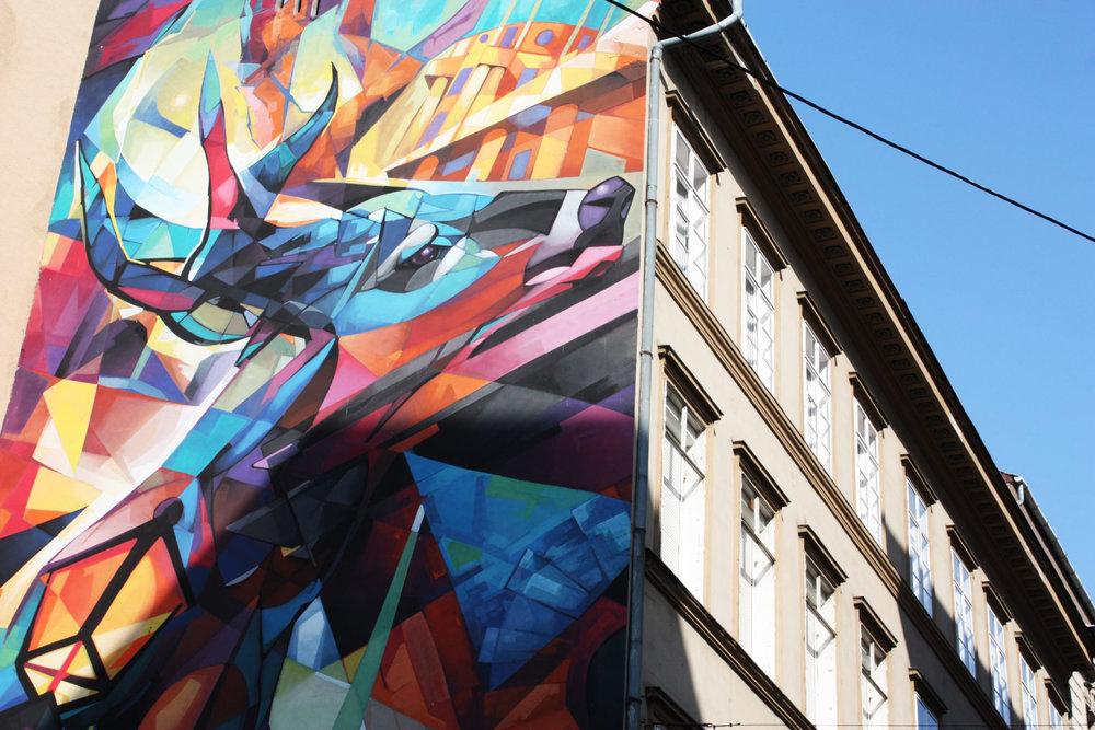 Une des rares fresques de Budapest