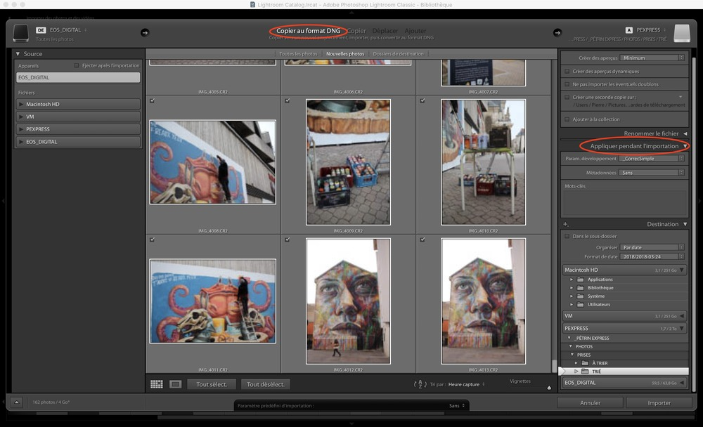 Importer ses photos sur Lightroom