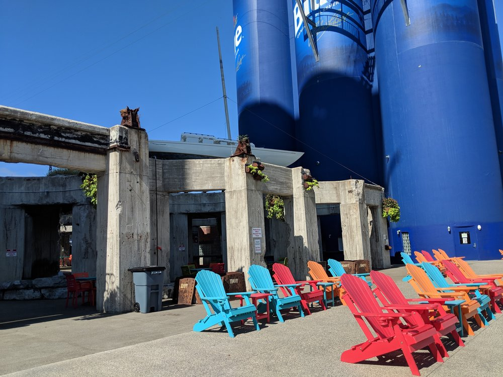 Canalside Buffallo, where they took abandoned grain silos and made an adult playground!