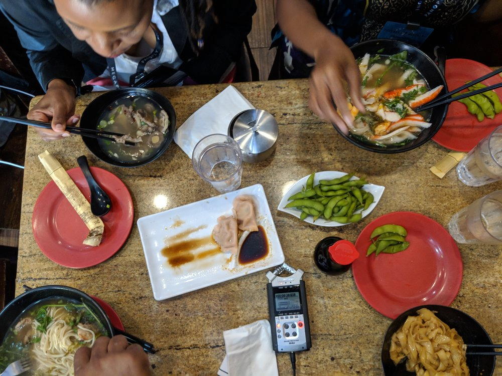Noodles, edamame, dumplings and an audio recorder…as one does.