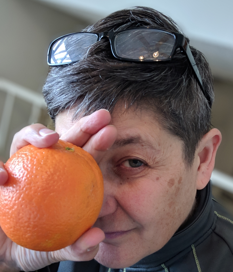 It's not a prop. I will eat that orange. At some point. Though I'm not hungry for it, dammit.