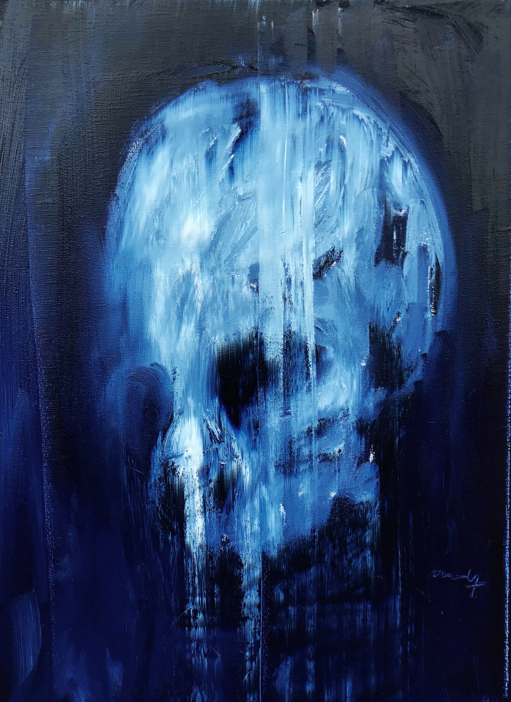 Small Ancient Skull oil and pigments on Canvas 37 x 25 cm 2018.jpg