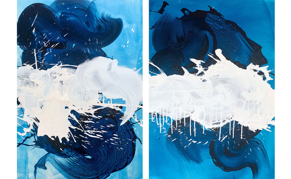 Blue and White Splash (Diptych)