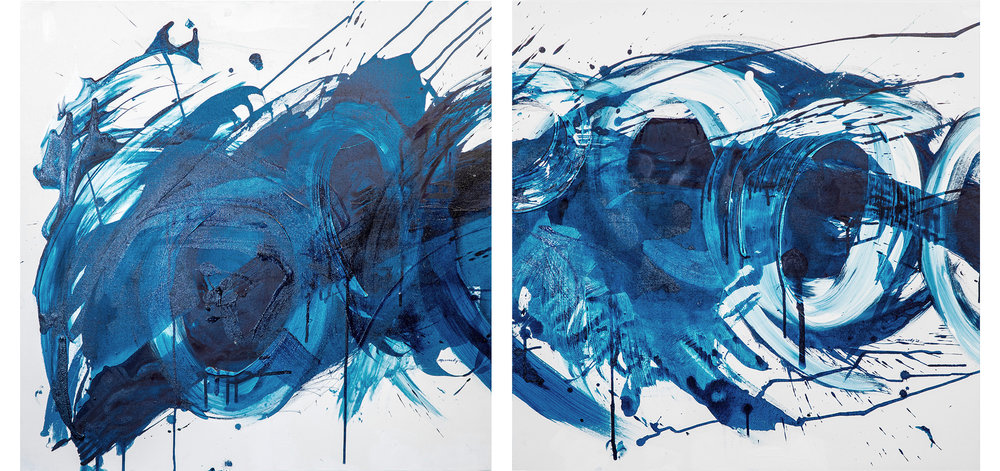 Circles and Splashes (Diptych)