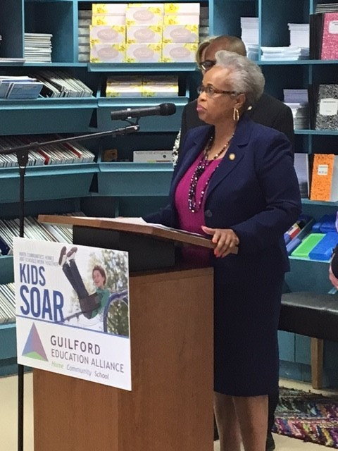 Senator speaking at Kids Soar Event
