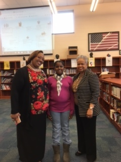 Senator Robinson with teachers, counselor and host student at JMS Career Day