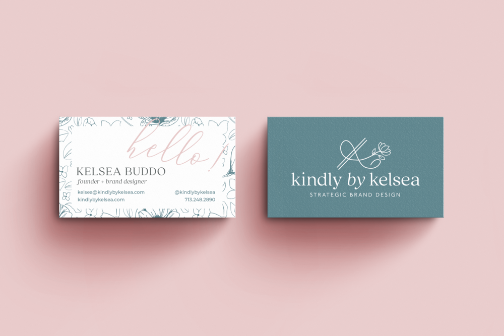 Kindly by Kelsea Houston Brand and Graphic Designer Brand Business Card Design