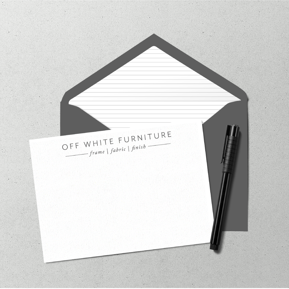 Off White Furniture Custom Upholstery Minimal Brand and Logo Design by Kindly by Kelsea